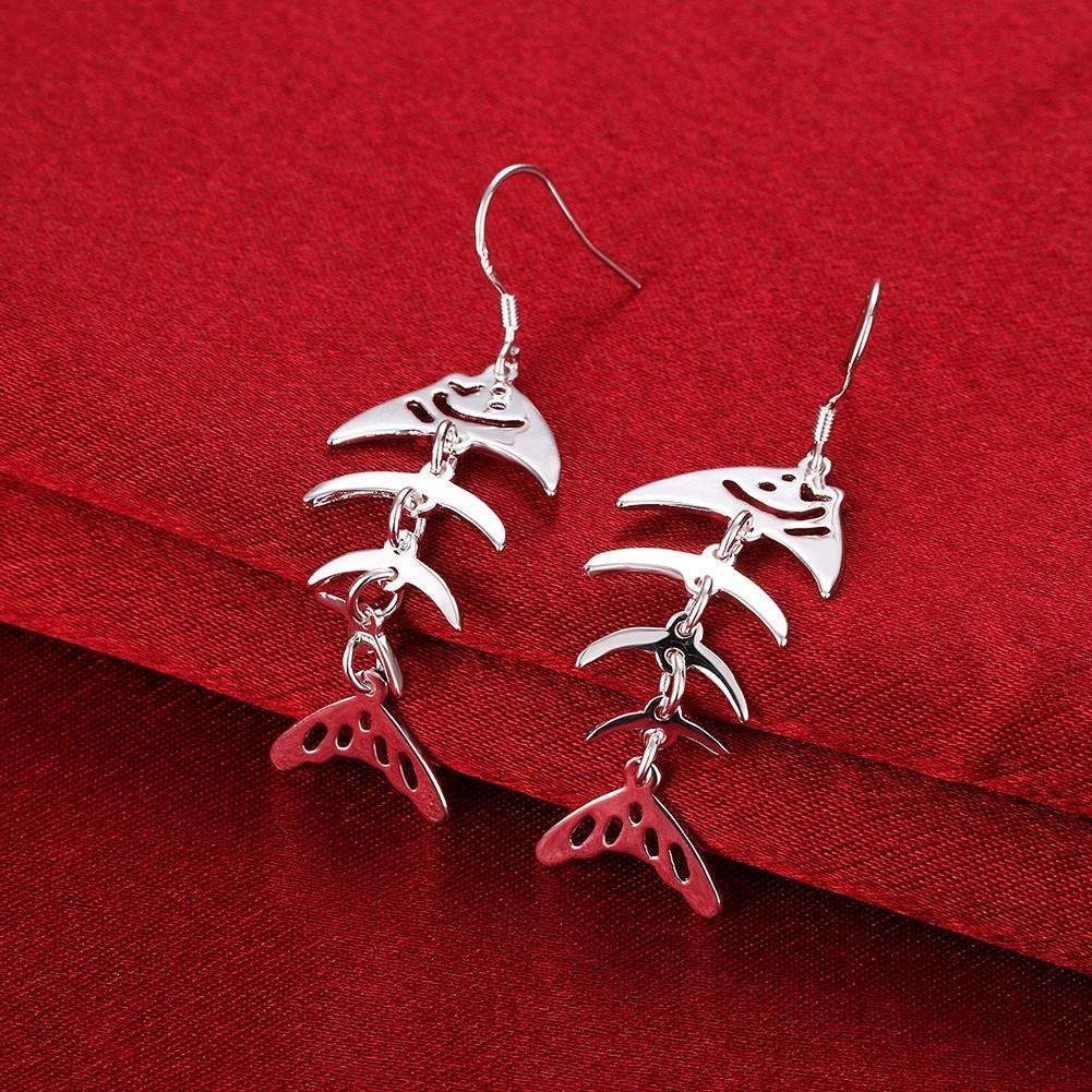 Fashion Creative Stud Earrings Fish Bones Shape Silver Plated Romantic Style Earrings For Women Female Girl Jewelry
