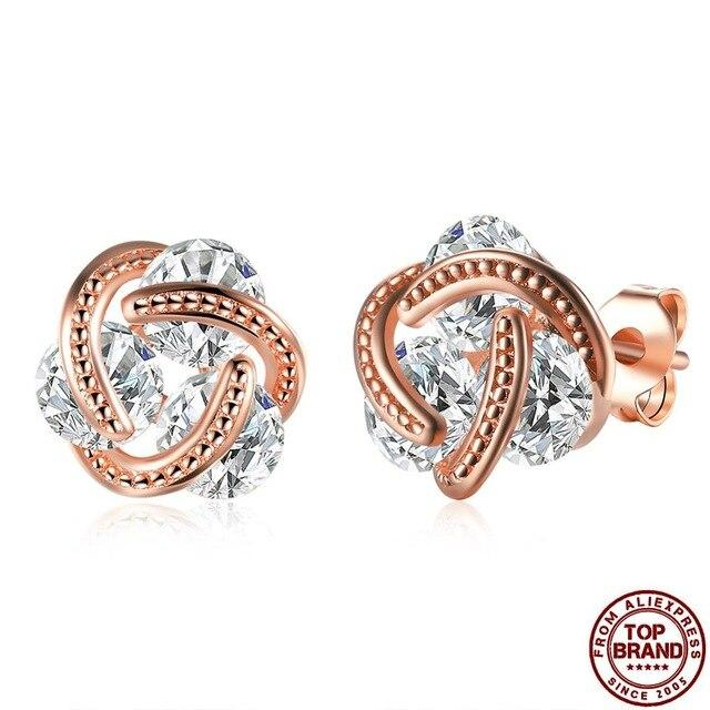 Fashion Cubic Zirconia Stud Earrings White Gold Rose Gold Earrings Women's Stud Earrings