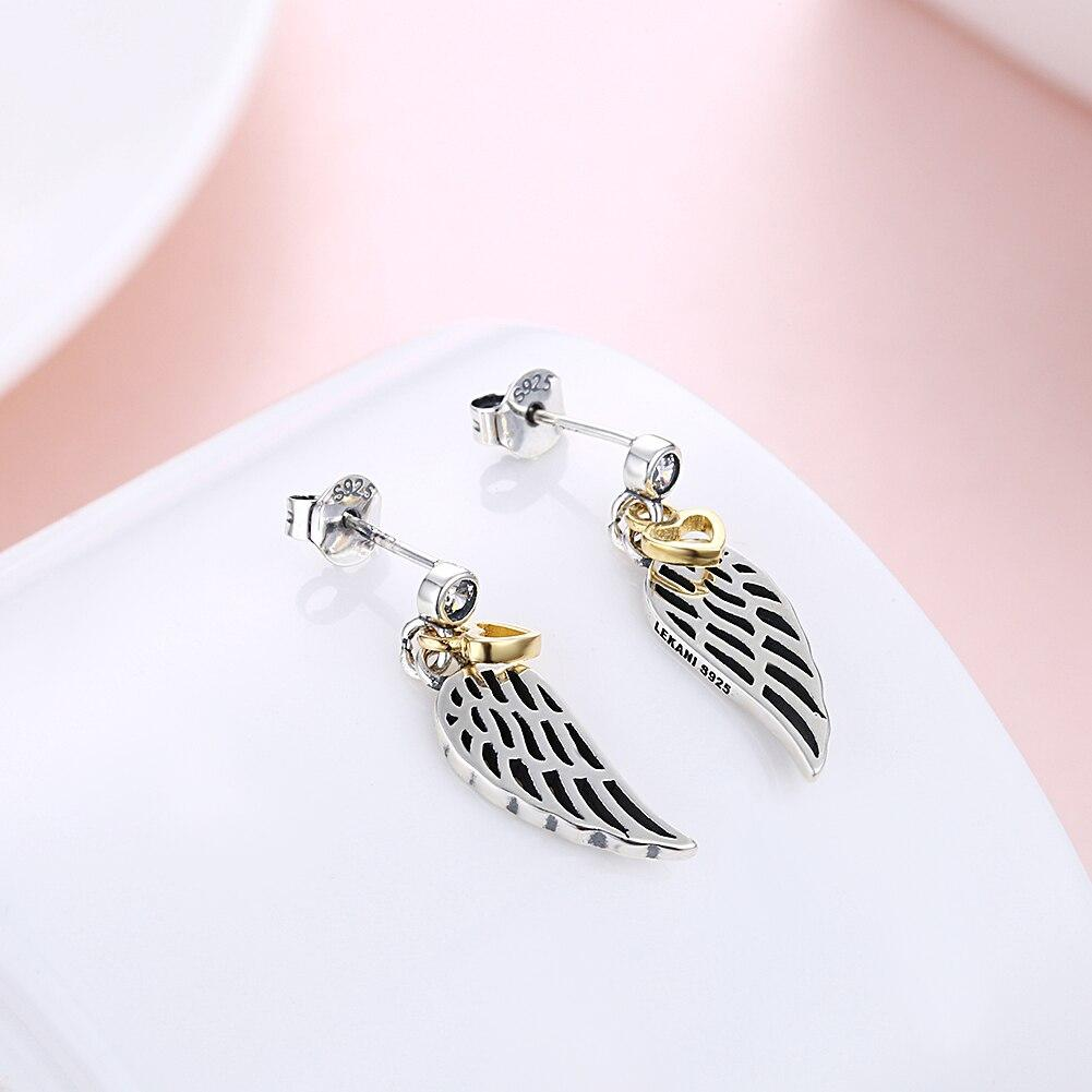 Fashion Hollow Wings Stud Earrings Yellow Heart Fine Jewelry for Women Wedding Party Dress 925 Silver Bijoux Mother's Day