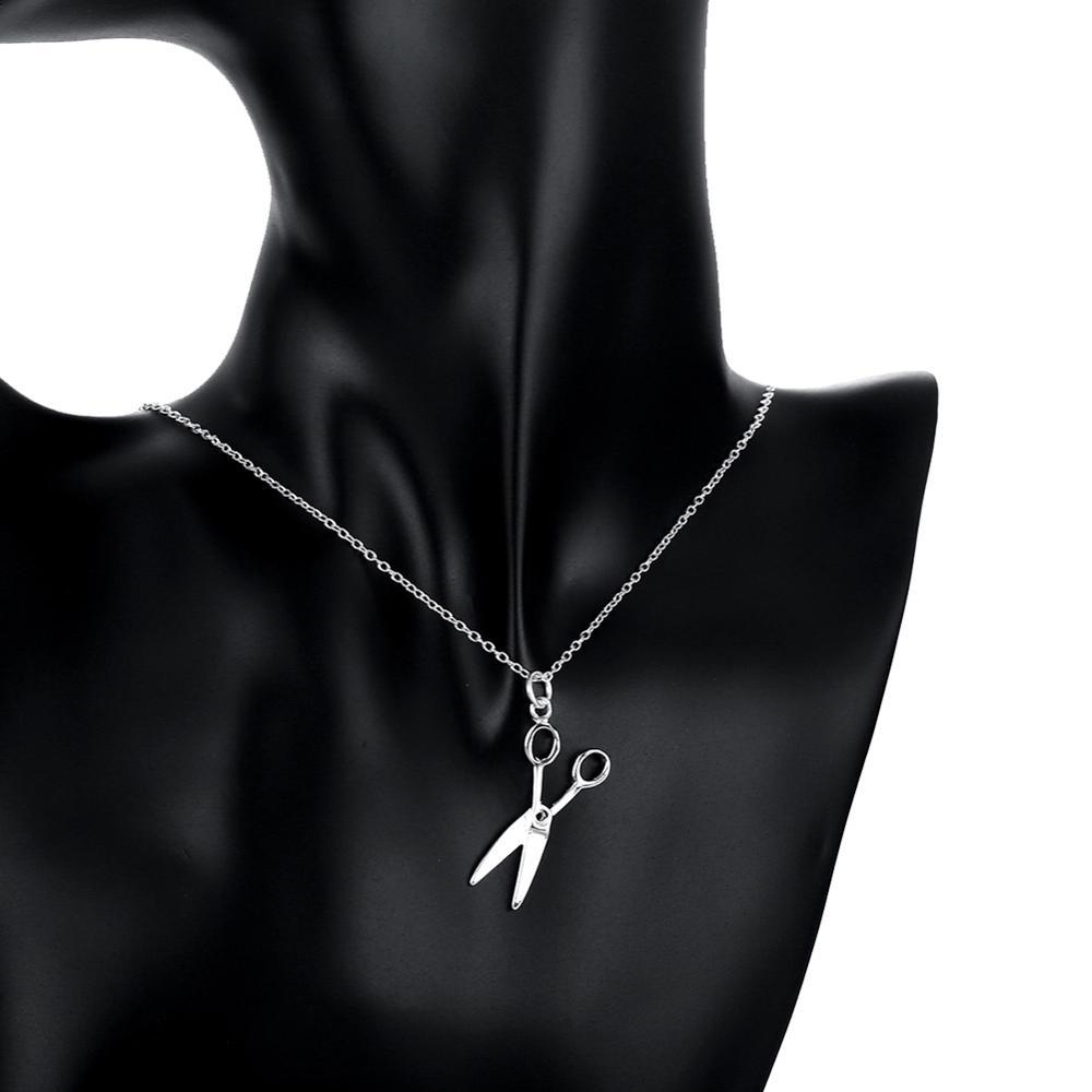 Fashion Silver Plated Men's Necklace Creative Scissors Pendant Necklace Send Friends Cool Anniversary Gift
