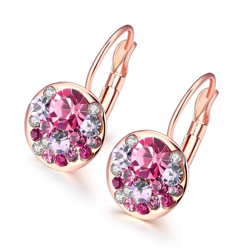 Fashion Trend Round  Stud Earrings Rose Gold Color/White Gold Color Inlaid Zircon Earings For Women Female Jewelry