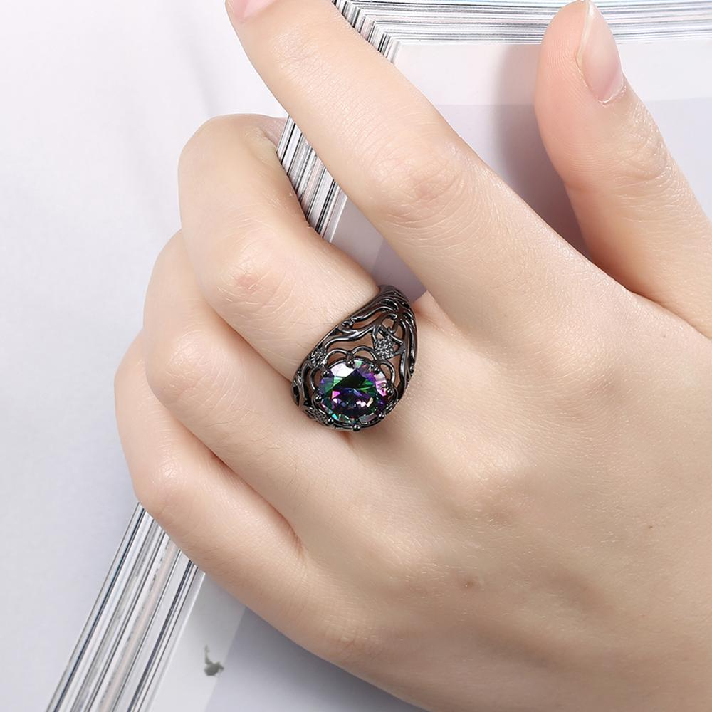 Fashion Women's Ring Pattern Hollow Out Color Round Zircon Ring 2020 New Hot Romantic Engagement To Send Friends Gifts