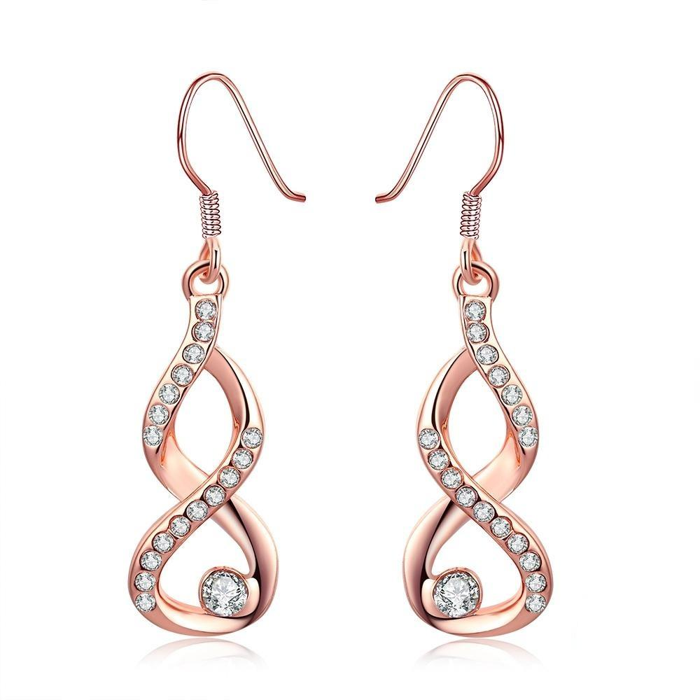 High Quality Infinite Love Rose Gold CZ Dangle Earrings for Women Fine Jewelry Gift