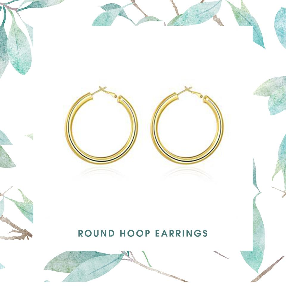 Hoop Earrings for Women Classic Pop Round Korean Loop Earrings Vintage Smooth Circle Earring