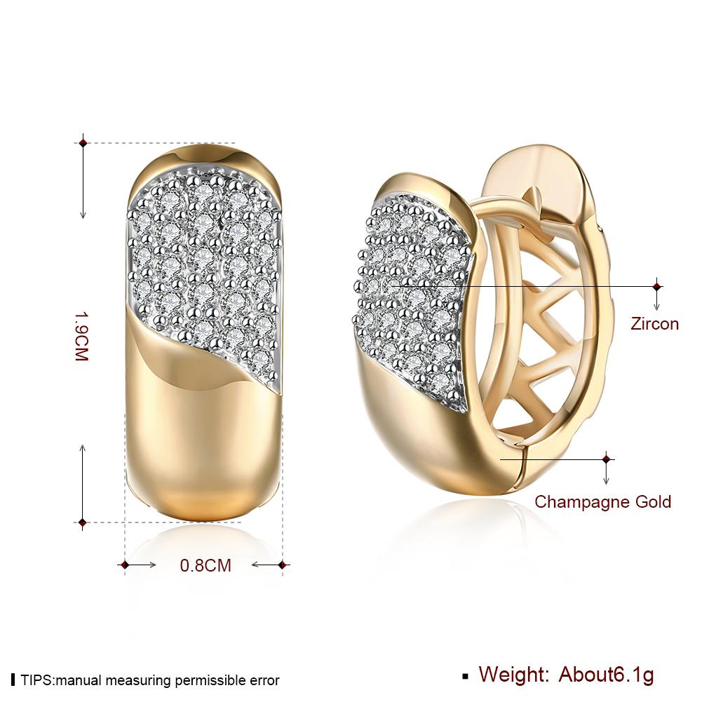 Hot New Stud Earrings Champagne Gold Color Inlaid Zircon Geometric Shape Romantic Earrings For Women