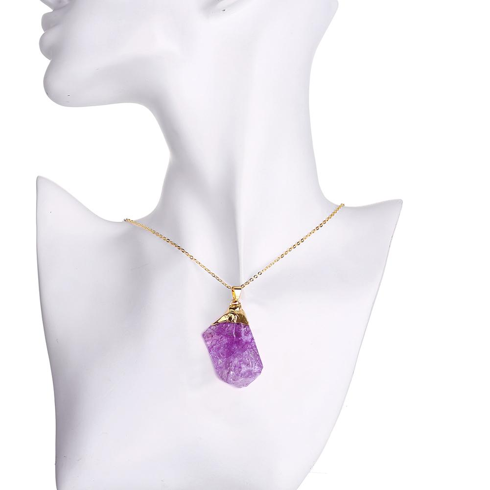 Imitation Gold Chain Necklaces Natural Stone Fashion Popular Multiple Colour Natural Crystal Necklace