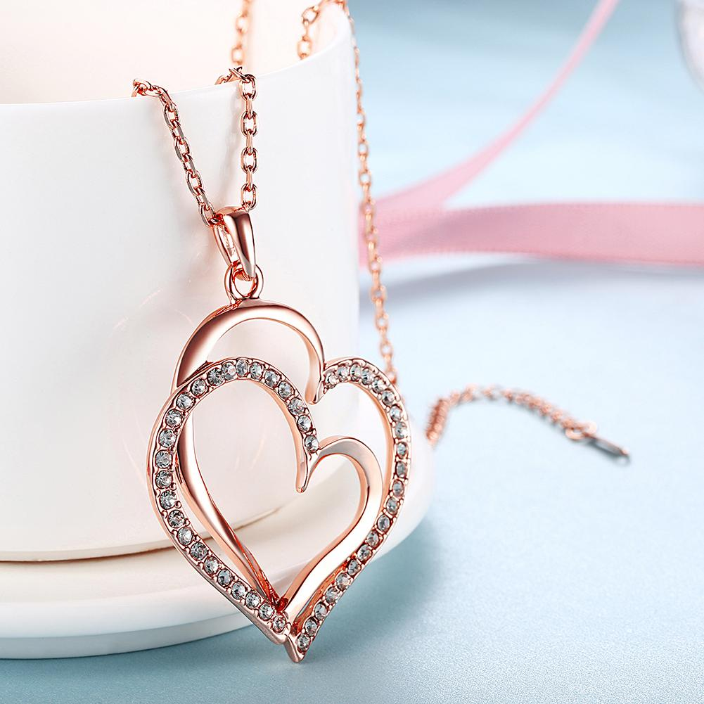 Jewelry Genuine Rose Gold Color Double Heart Pendant Necklace with Crystal Necklaces Chain