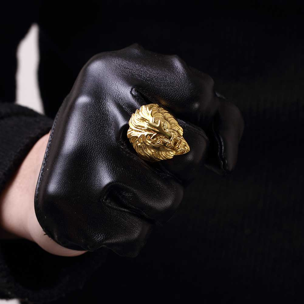 Male Rings Gold Lion Power Punk Style Cool Jewelry Fine Gift for Men Stainless Steel Fashion Accessories