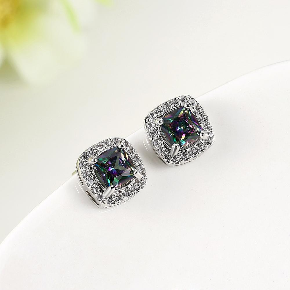 New Fashion Zircon Oval Colored Geometric Elements Women's Earrings Gift Anniversary Women's Earrings