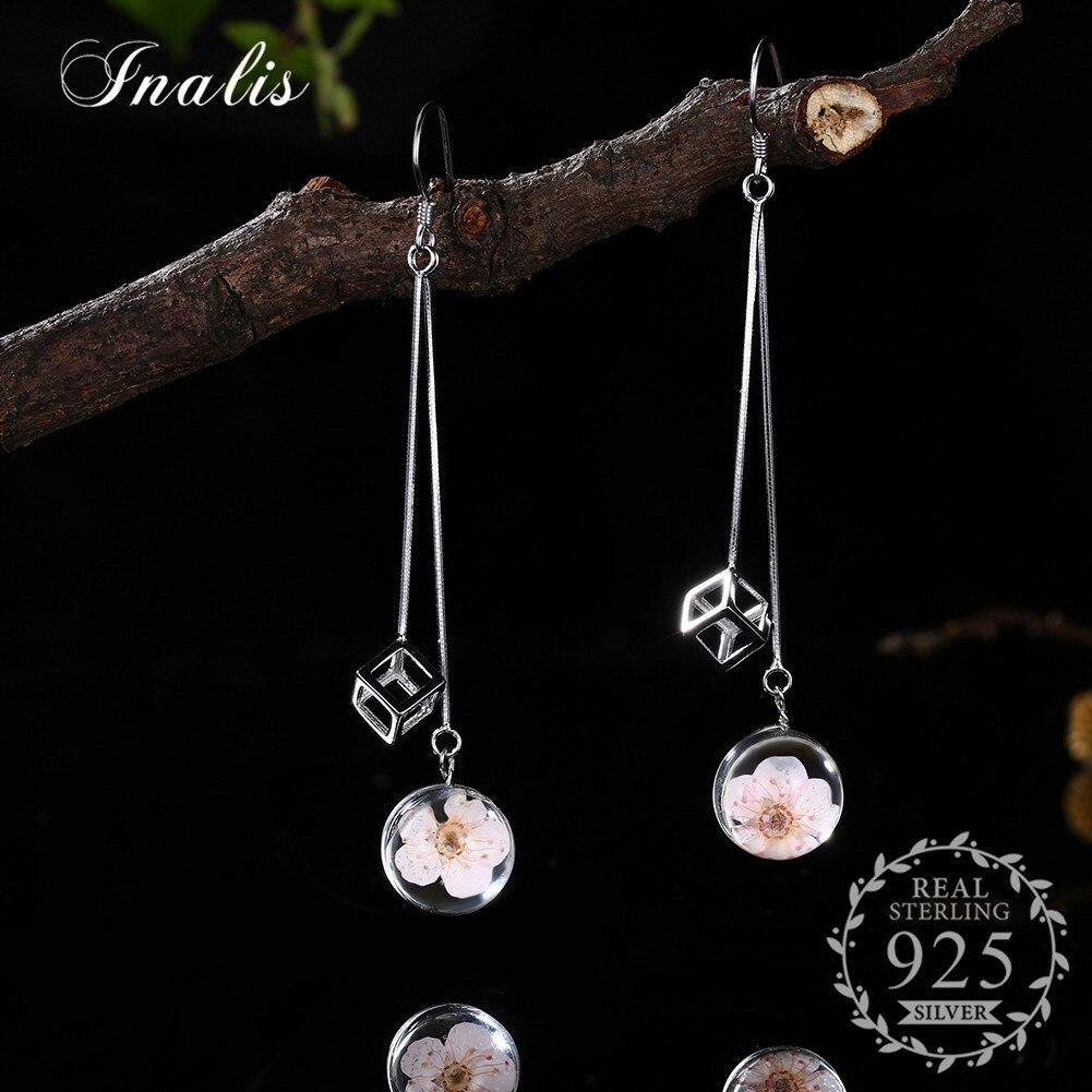 New Style 100% Real 925 Sterling Silver Darling Daisies Long Drop Earrings with Hollow Cube for Women Fashion Jewelry