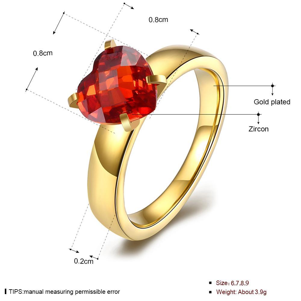 Rings for Women Romantic Heart Shape Gold Stainless Steel Rings with Big 5A Cubic Zirconia Noble Simple Fashion Jewelry