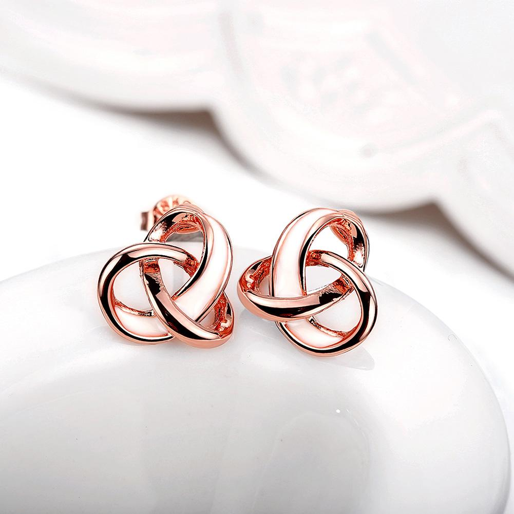 Rose Gold Color Double Circle Stud Earrings for Woman Rhinestone Paved Round Earrings