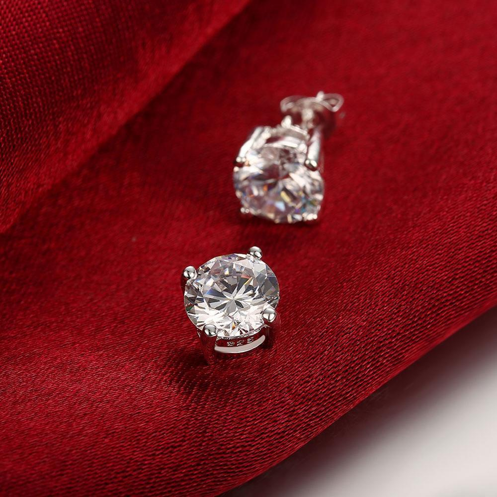 Round Zircon Silver Earrings Silvering Women's Earrings 2020 New Anniversary Party Give Friends Exquisite Romantic Gifts