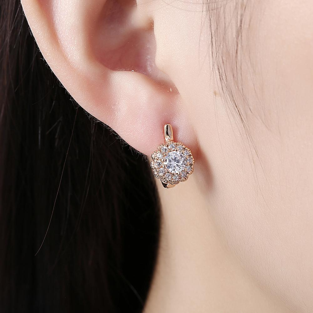 Stud Earrings for Women Flower-shaped Mosaic 5A+ Cubic Zirconia Romantic Statement Earrings Gift for Party Best Friend