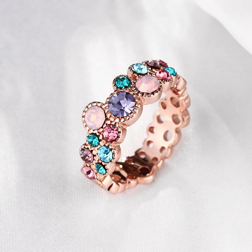 Unique Design Rose Gold Color Ring for Female Wedding with AAA Colorful Cubic Zircon Bijouterie