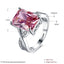 Wedding rings for women White Gold Color jewelry Pink Stone rings Engagement square bague zirconia Accessories