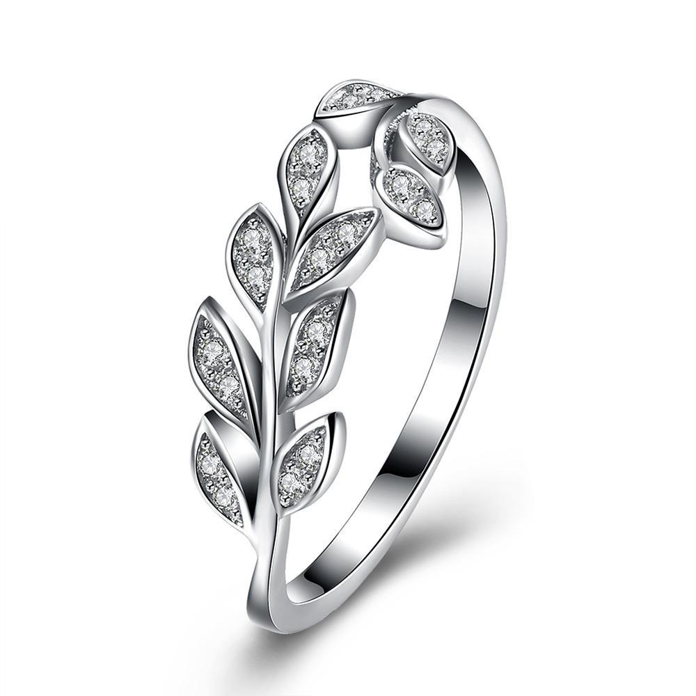 Wholesale 925 Sterling Silver Leaf Tree Rings With Clear CZ Zircon for Women Original Fine Jewelry