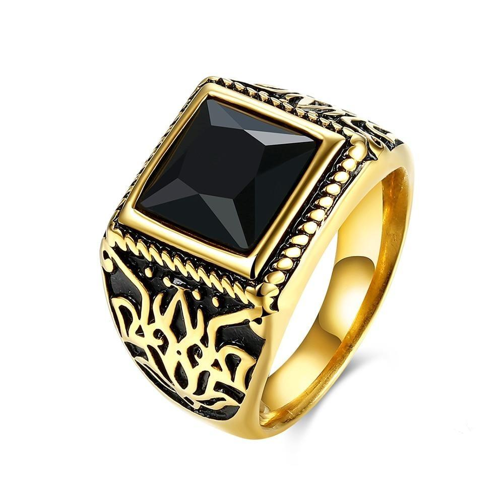 Wholesale Fashion Stainless Steel Male Rings Punk Square Red/Black Crystals Luxury Style Rings Gift for Men