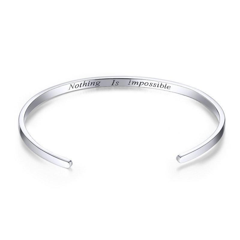 bamoer Engrave Courage Jewelry Bangle SCB160 | BAMOER