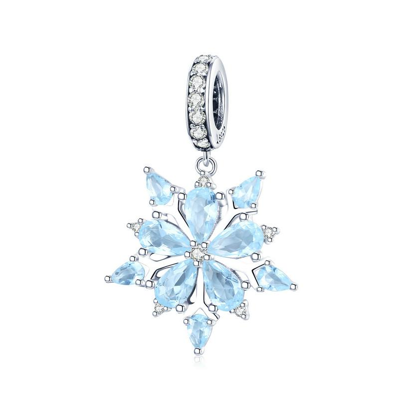 BAMOER High Quality 925 Sterling Silver Winter Snowflake Blue CZ Elegant Charms Pendant fit Necklaces Pendant Jewelry SCC940 | BAMOER