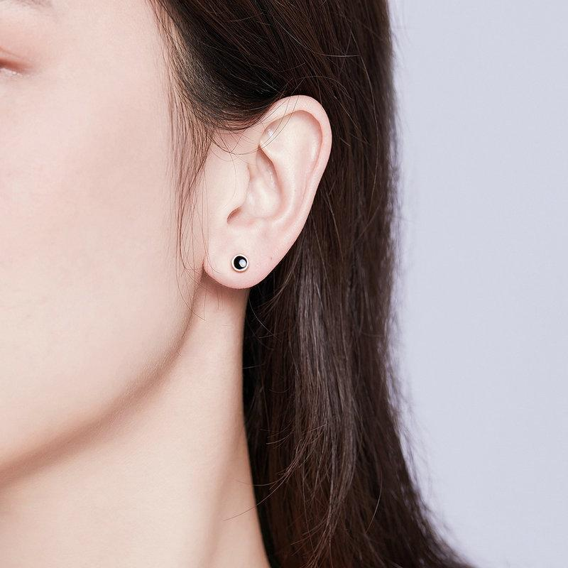 BAMOER SIMPLE ROUND SILVER EARRINGS JEWELRY | BAMOER