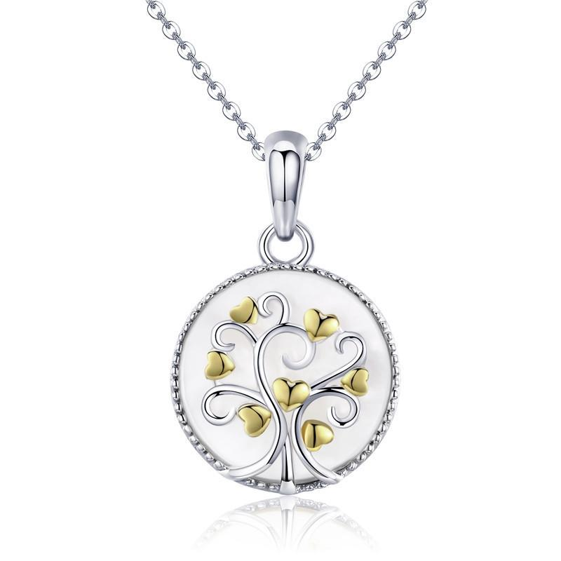BAMOER Real 925 Sterling Silver Tree of Life Pendant Necklaces Women Gold Heart Tree Necklace Sterling Silver Jewelry SCN296 | BAMOER