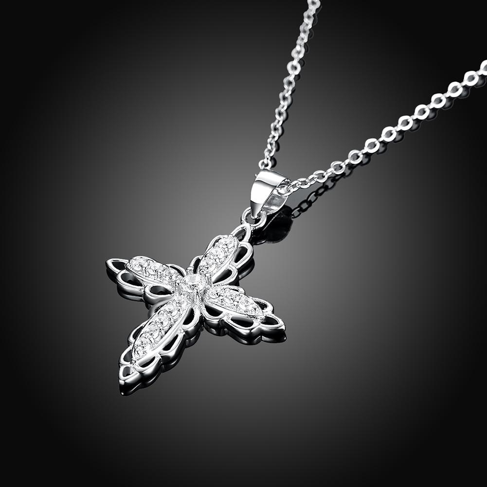 925 Sterling Silver Double Flower Closs Necklace Zircon Pendant for Ladies Mother's day Gift