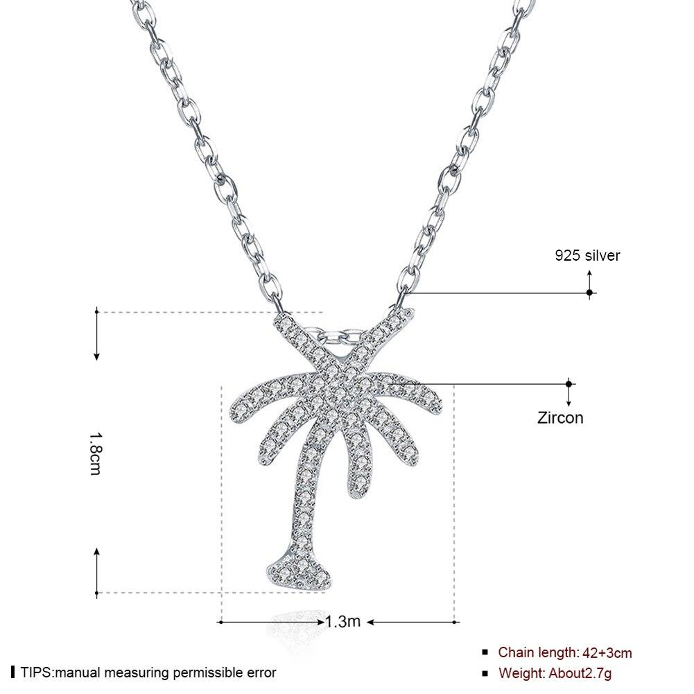 925 Sterling Silver Coconut Tree Shape Pendant Crystal Zircon Necklace For Women Engagement Jewelry