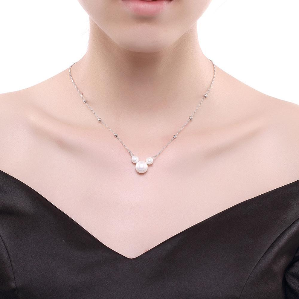 925 Sterling Silver Pearl Necklaces Women's Three Pearl Pendant  Wedding Lovely Mickey Shape Necklaces