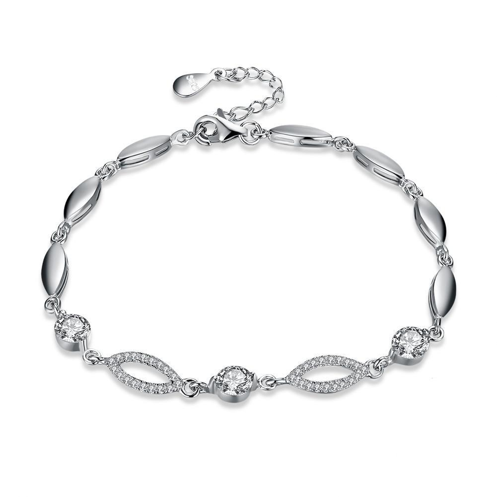 Christmas Gift Trendy Romantic Jewelry Oval Round Cubic Zirconia Link Chain Bracelet for Women 925 Sterling Silver