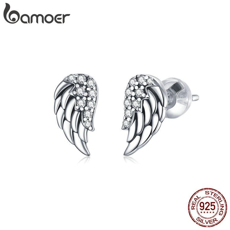 bamoer 100% Real 925 Sterling Silver Dazzling Vintage Wings Stud Earrings for Women Ear Stud Jewelry Fine Jewelry SCE882