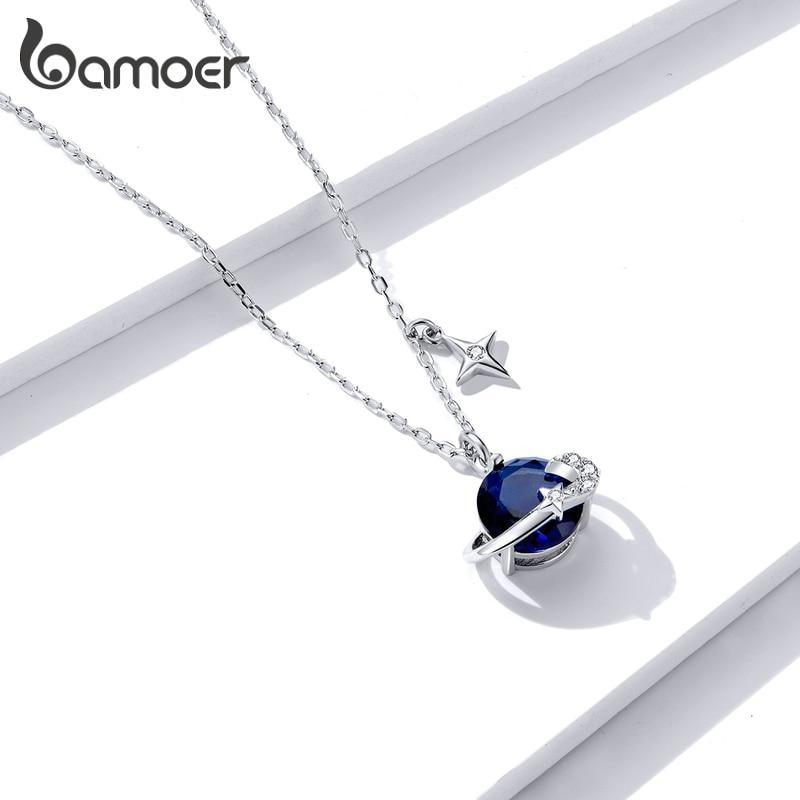 bamoer Blue Planet Pendant Necklace for Women Stars Design Engagement Statement Jewelry Colllar BSN166