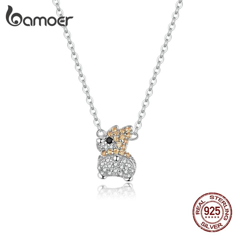 bamoer 925 Sterling Silver Luxury CZ Paved Corgi Dog Chain Necklace for Women Animal Jewelry 2020 New Bijoux Girl Gifts BSN165