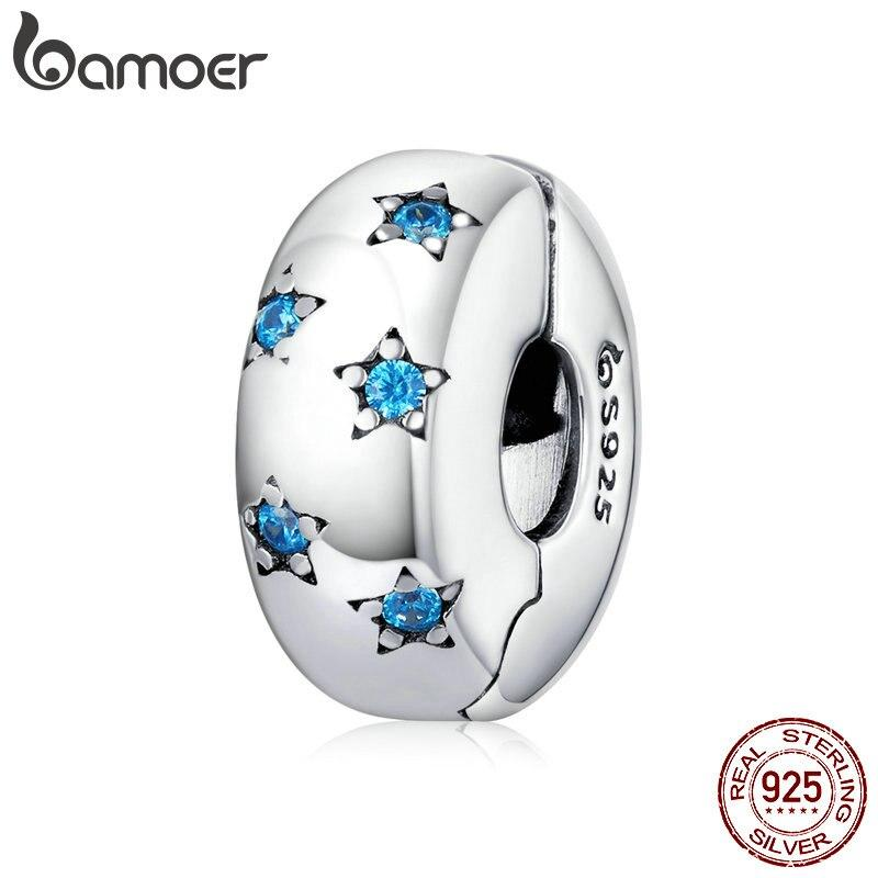 bamoer 925 Sterling Silver Ocean Blue Star Clip Charm Stopper fit for Original Silver Bracelet European Jewelry Making BSC253