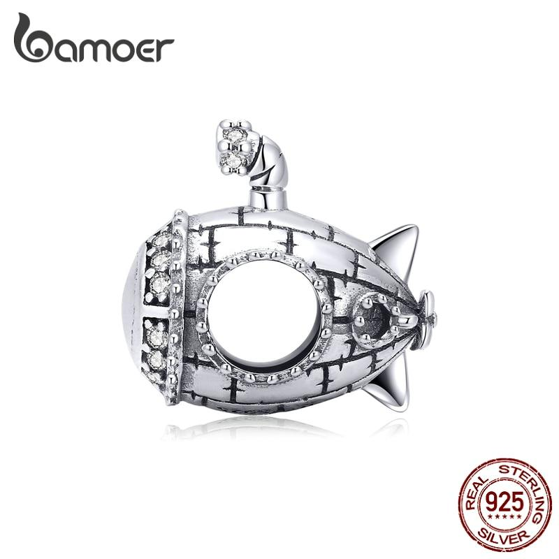 bamoer 925 Sterling Silver Original Design Cute Submarine Metal Beads Charm for Original Silver DIY Bracelet Jewelry SCC1453