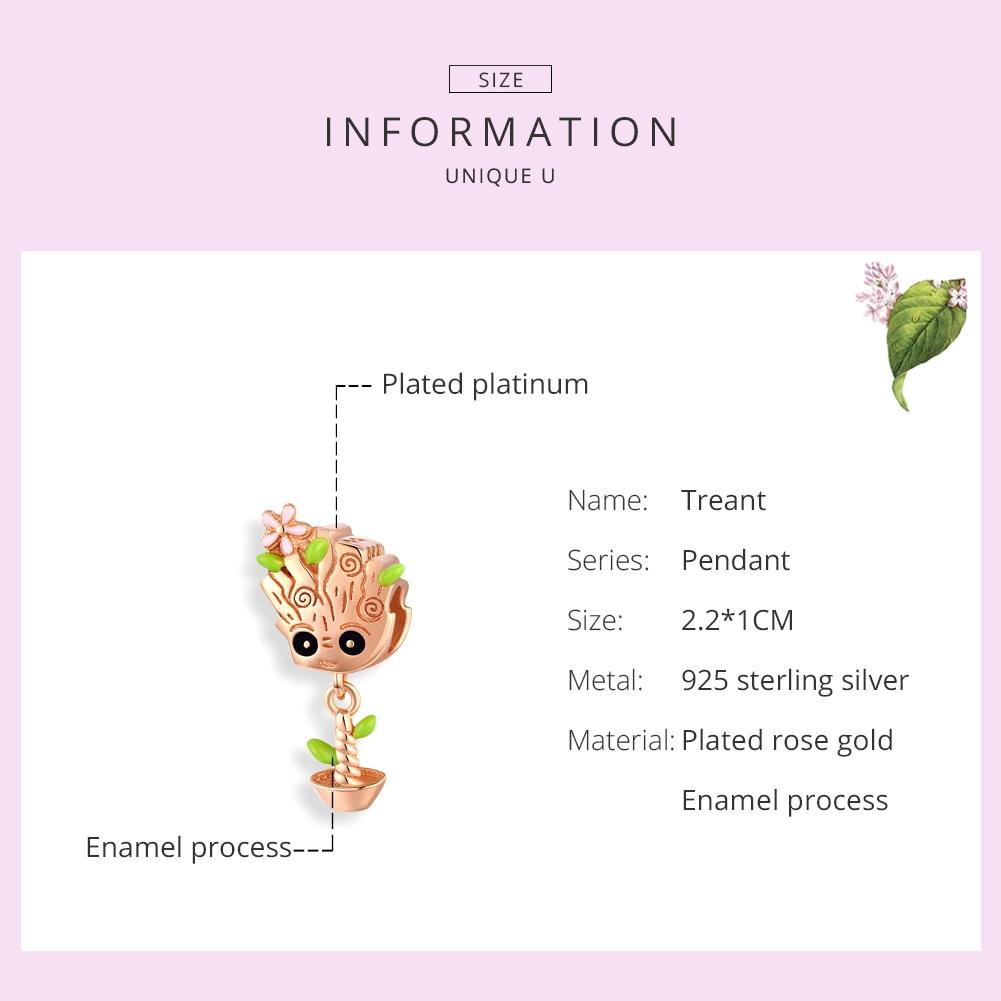 Rose Gold Color Cute Treant Charms BSC130 | BAMOER