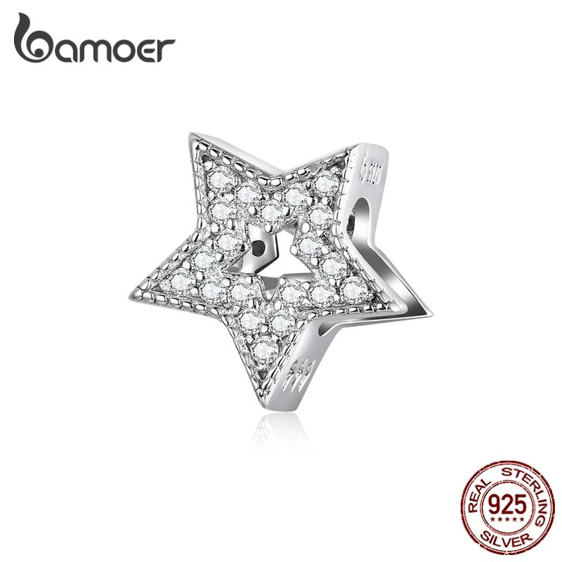 bamoer 925 Sterling Silver Sparkling Star Shape Charm fit Original Women Bracelet Female 2020 New Jewelry Accessories BSC210