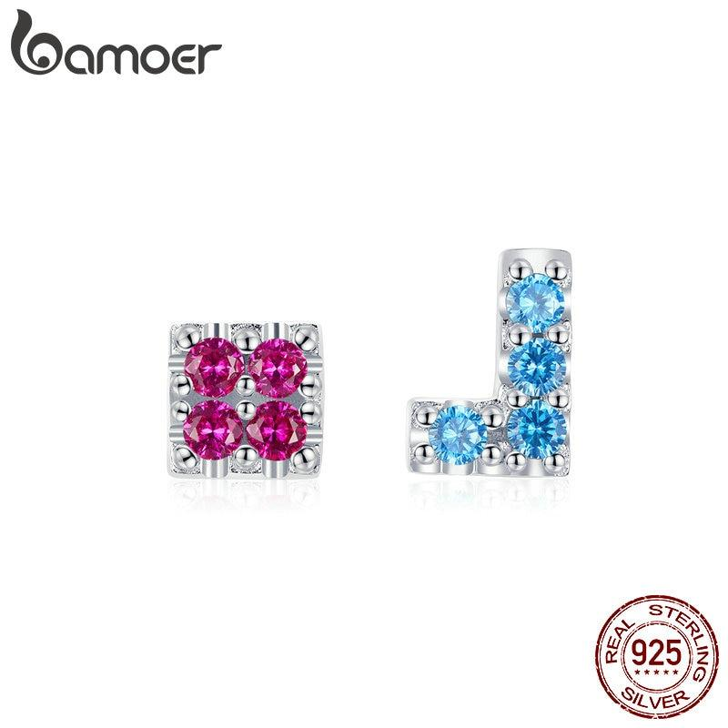 bamoer Authentic 925 Sterling Silver Colorful Tetris Childhood Game Stud Earrings for Women Anti-allergy Silver Jewelry BSE365