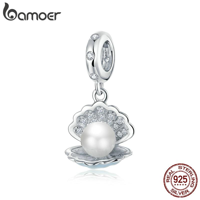 bamoer Authentic 925 Sterling Silver Pearl in Shell Pendant Charm for Original Silver Bracelet or Necklace Silver Jewelry BSC242