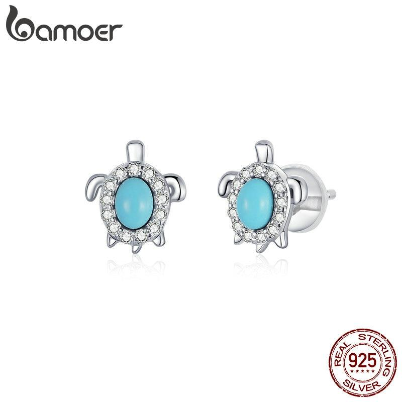 bamoer Authentic 925 Sterling Silver Turtle  Stud Earrings for Women Statement Jewelry Ear Pins Boho Fine Jewelry BSE374