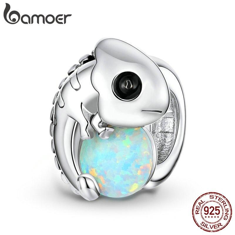 bamoer Chameleon Metal Beads for Women Jewelry Making White Opal 925 Sterling Silver Charm fit Original Silver Bracelet BSC254