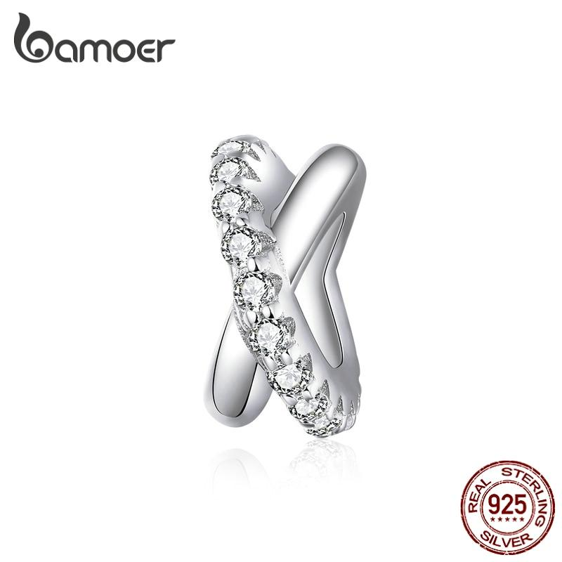 bamoer Cross Galaxy Silver Charm for Original Silver Bracelet 925 Sterling Silver CZ Fashion Jewelry DIY Accessories BSC214