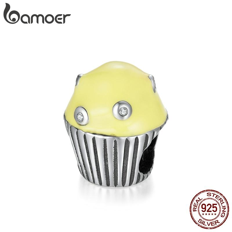 bamoer Enamel Cupcake Afternoon Tea Series Charm fit Original Bracelets & Bangle 925 Sterling Silver Fine Jewelry SCC1493