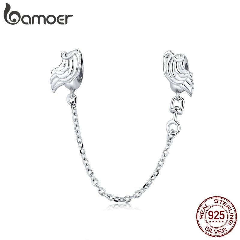 bamoer Flying Wings Guardian Safety  Chain with Silicon Charm fit Original Bracelet or Bangle 925 Sterling Silver Jewelry BSC241