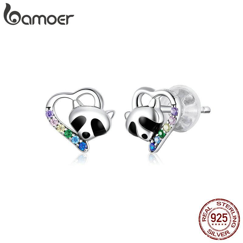 bamoer Genuine 925 Sterling Enamel Raccoon Studs Earrings for Women Heart-shape Ear Stud Wedding Statement Jewelry SCE883