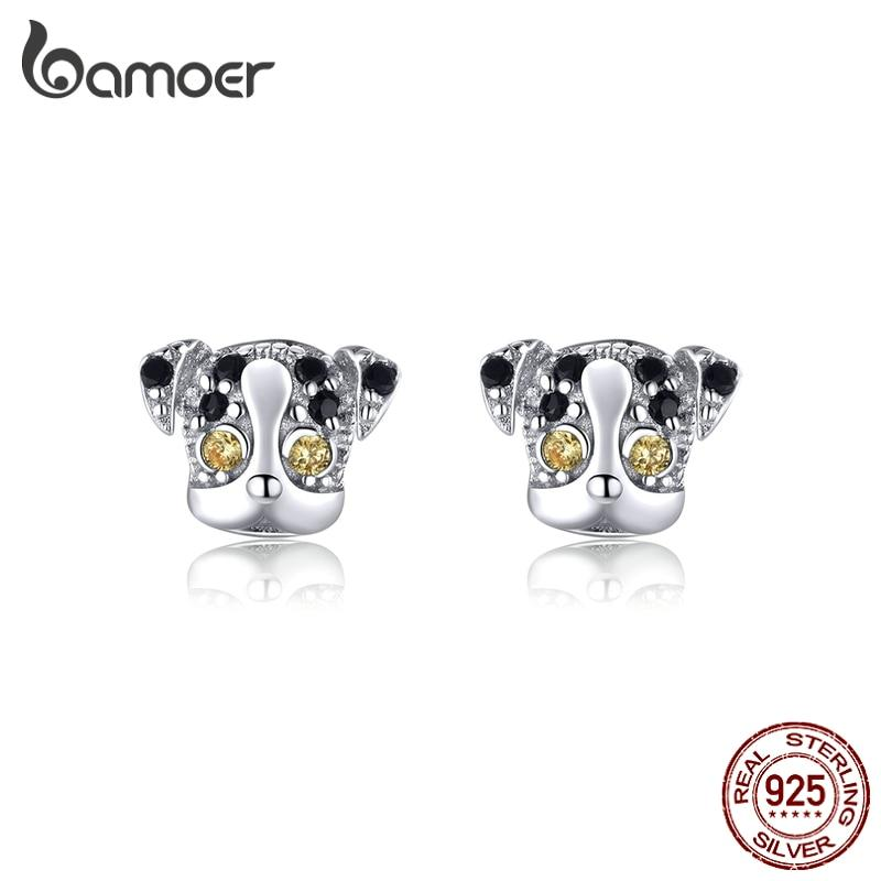 bamoer Genuine 925 Sterling Silver Big Eyes Dog Animal Stud Earrings for Women Earing with Earplugs New Mode 2020 BSE357