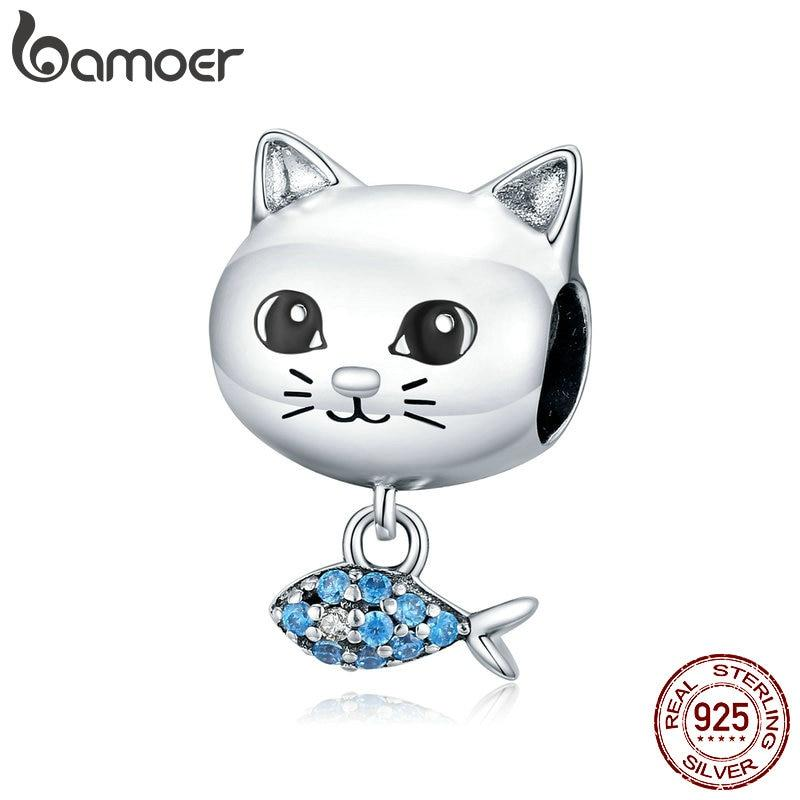 bamoer Genuine 925 Sterling Silver Cat Love Fish Tiny Pendant Animal Charm fit Original Silver Bracelet DIY Jewelry BSC226