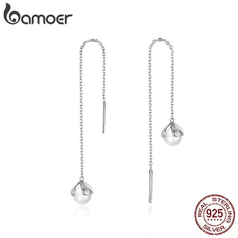bamoer Genuine 925 Sterling Silver Pearl Long Chain Drop Dangle Earrings for Women Elegant Wedding Statement Jewelry BSE373
