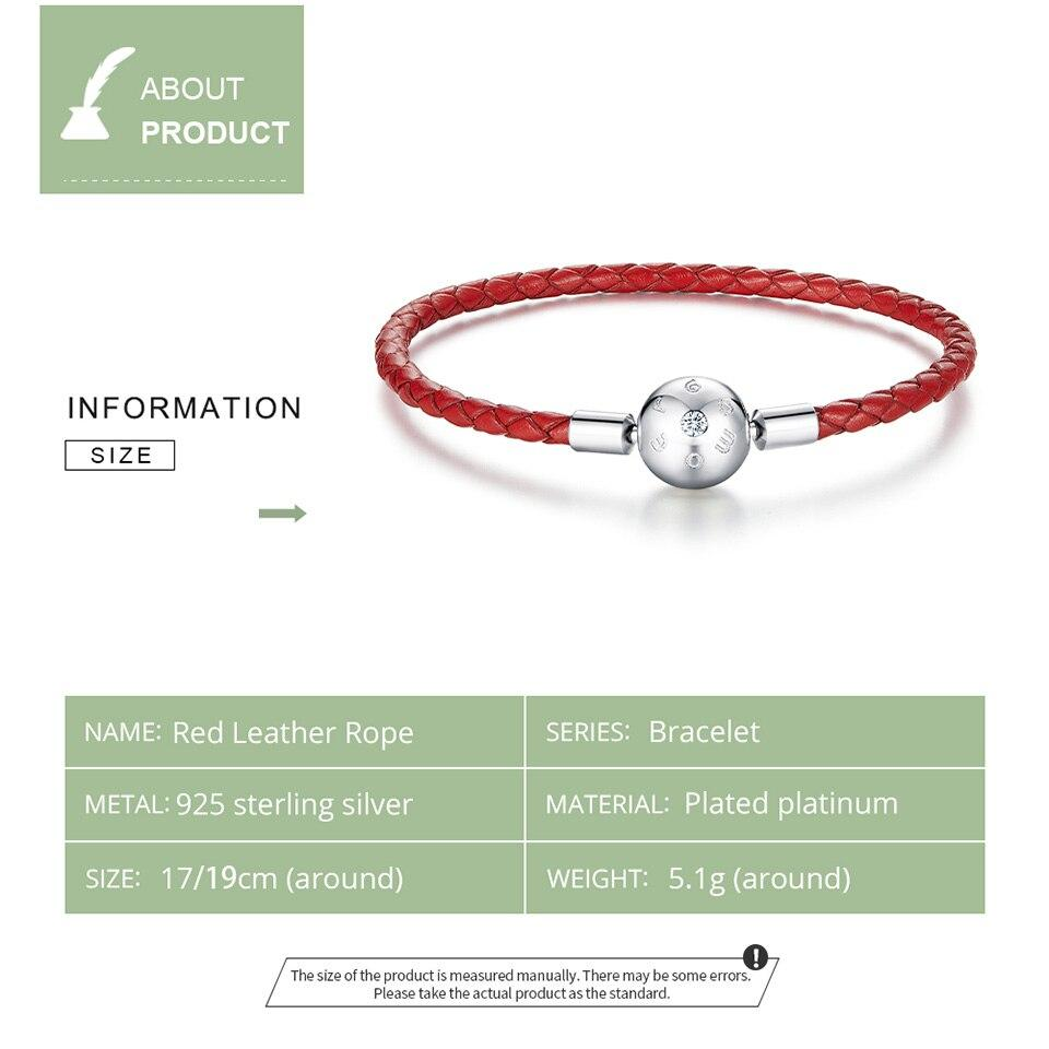 bamoer Genuine 925 Sterling Silver Red Leather Rope Charm Bracelet for Women Fit for 3mm Hole Charm Bead Jewelry BSB042