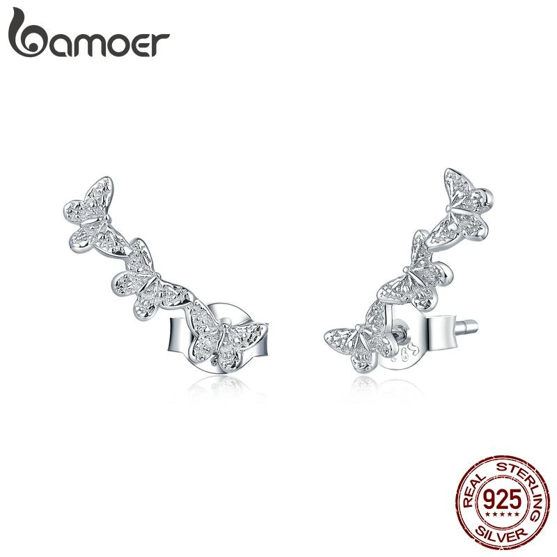 bamoer Genuine 925 Sterling Silver Three Butterfly Insect Long Stud Earrings for Women Push Back Ear Pins Studs Jewelry BSE377